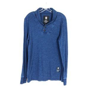 G-Star Raw Blue Henley Long Sleeve Shirt!